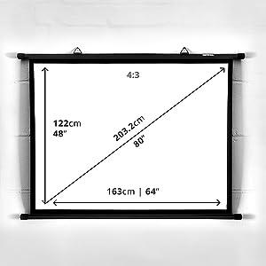 """Duronic BPS80 /43 Pantalla de Proyección con Ganchos – Pantalla para Proyector 80"""" 16:9 (163 x 122 cm) Full HD y 3D ..."""