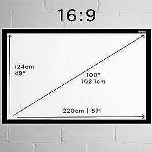 """Duronic APS100/43 Pantalla de Proyección Fija con Velcro Adhesivo - 100"""" 4:3 (203 cm X 152 cm) Full HD y 3D"""