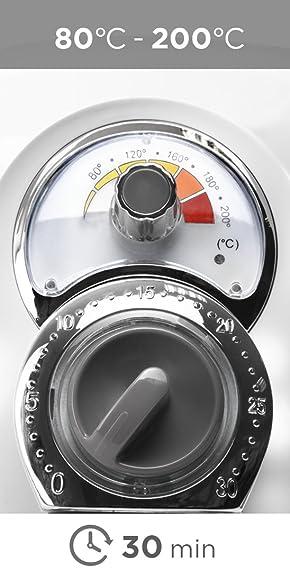 Duronic AF1 /W Freidora sin Aceite, Freidora de Aire Caliente 2,2 L, 1500 W, Control de Temperatura, Temporizador, Apagado Automático y Cesta ...