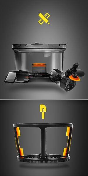 Duronic JE2 Licuadora Prensado en Frío Silenciosa para Frutas y Verduras de 220W, Extractor de Zumo Prensado en Frío 80 RPM para Zumos Naturales, ...