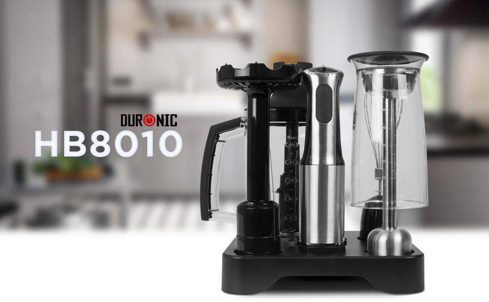 Duronic HB8010 Batidora de Mano 800W con 5 Velocidades y Función Turbo - Vaso Mezcla Picadora + Varilla Batidora + Pasapurés + Bandeja - Ideal para Sopas y Papillas: Amazon.es: Hogar