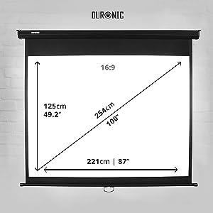 Duronic MPS100 /169 Pantalla de Proyección Enrollable Manual ...