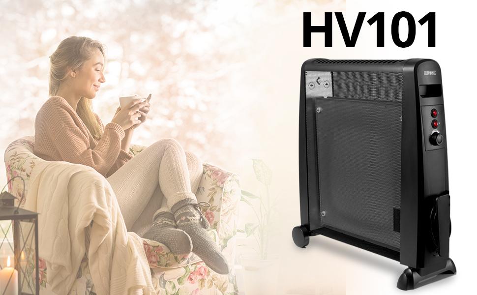Duronic HV101 Calefactor Radiador Eléctrico Bajo Consumo con Panel de Mica de 2500 W y Termostato, Paneles Calefactores Libre de Aceite Que Calientan ...