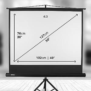 """Duronic TPS50 /43 Pantalla de Proyección con Trípode - Pantalla para Proyector Fija Full 4K HD y 3D, 50"""" 4:3 (102 cm X 76 cm)"""