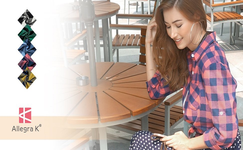 Allegra K Camiseta Mangas Enrolladas Telas Escocesas Camisa Abotonada De Cuadros Blusa para Mujer