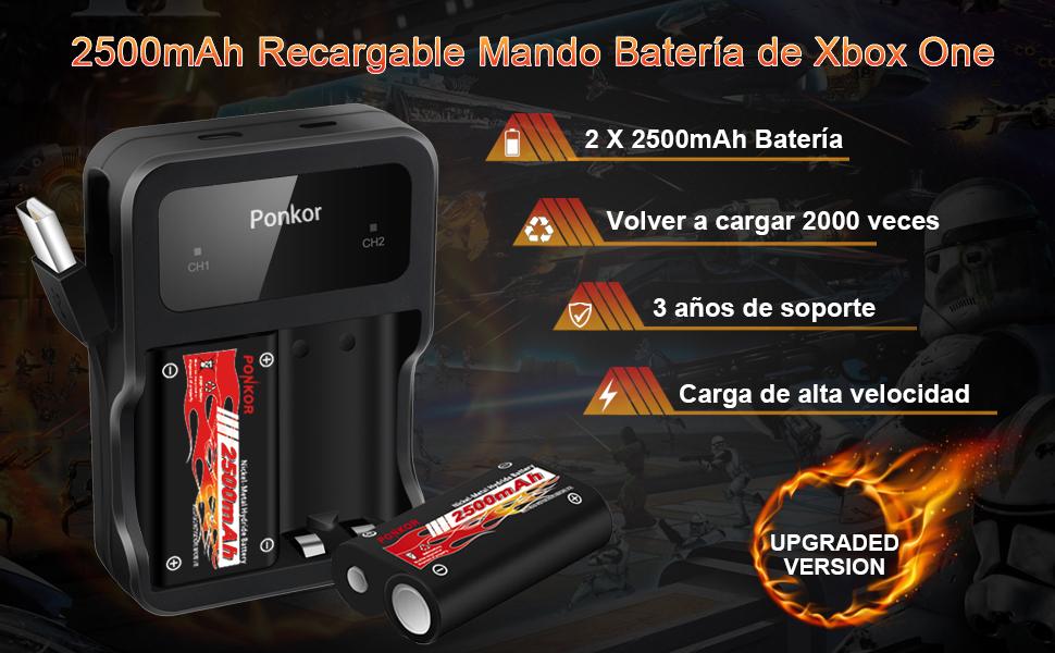 Batería de Controlador Xbox One, Xbox Mando Batería 2 x 2500mAH Batería Recargable para Xbox One / One S / One X / One Mando inalámbricos Elite, Juegos de Batería y Cargador: Amazon.es: Videojuegos