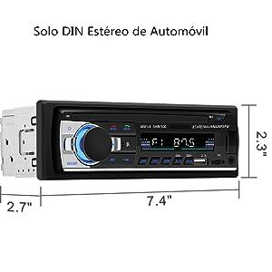Autoradio Bluetooth, CENXINY Manos Libres de Radio Coche, Receptor Estéreo de Coche USB Dual Incorporado, Bluetooth 4.2, FM, AUX y Ranura para Tarjeta ...