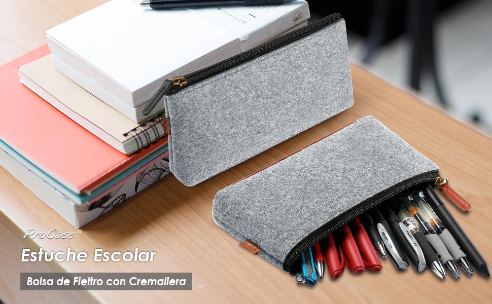 ProCase Estuche Escolar de Fieltro [2 Unidades], Bolsa Lapicera 22 cm -Gris
