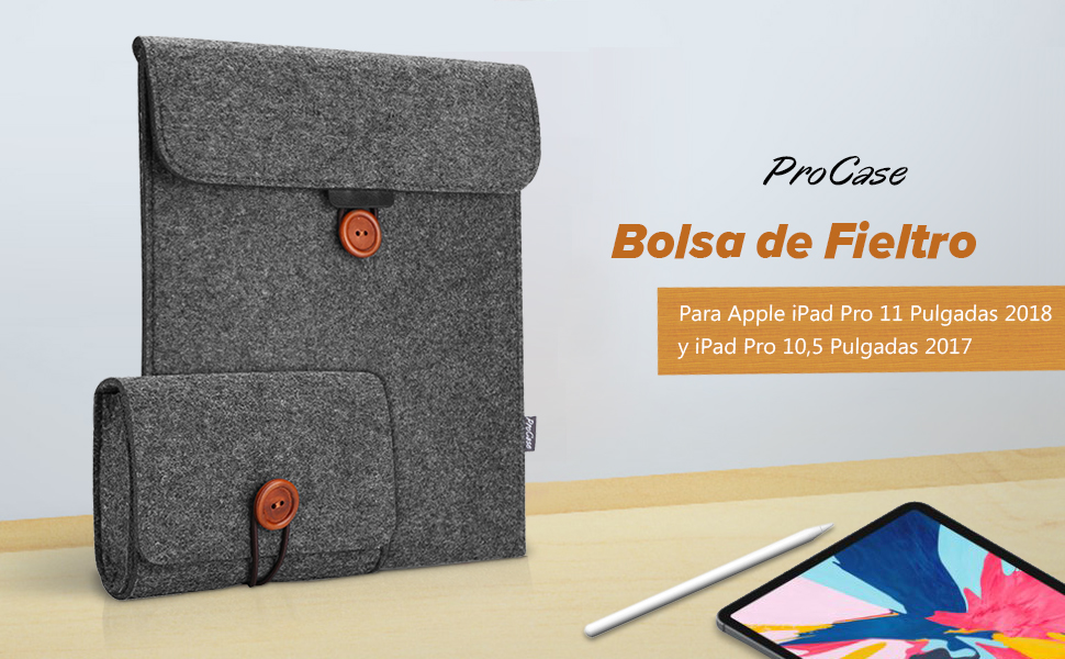 "ProCase Bolsa Fieltro para iPad Pro 11/Pro 10.5/Air 10.5/iPad 10.5, Maletín para iPad 10,2""/iPad Air 2019 10.5"