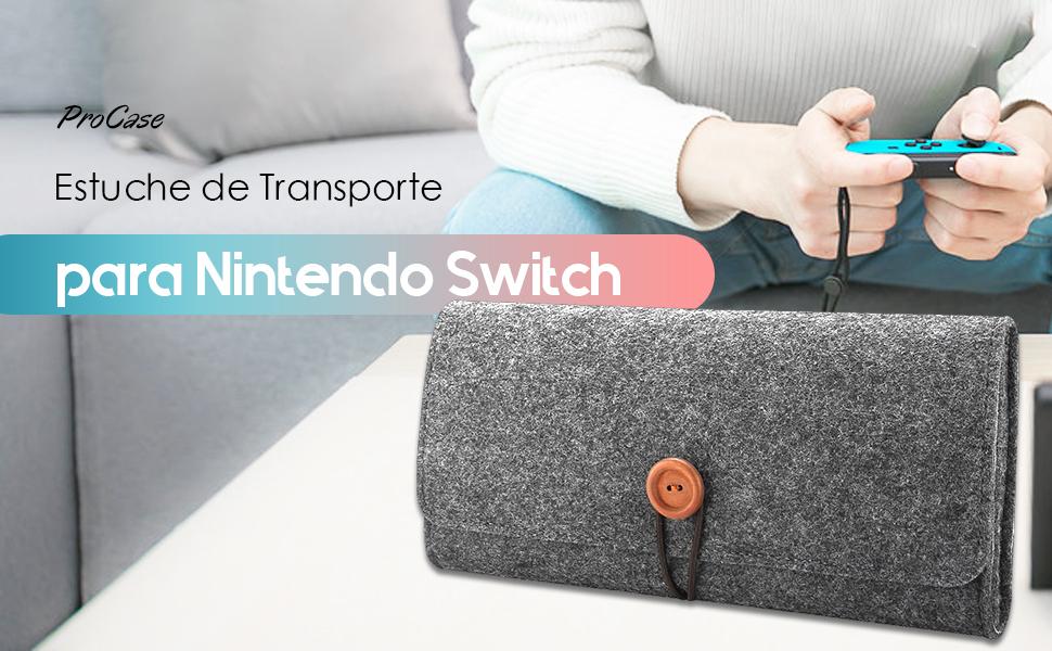 ProCase Funda Nintendo Switch, Estuche de Fieltro Portátil Ultra Delgado Caja Protectora de Viaje para Nintendo Switch 2017 con 5 Puestos para Cartucho de Juego –Negro: Amazon.es: Electrónica