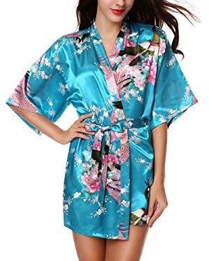 Avidlove Mujer Pijama Bata Kimono Corto Estilo Japones Estampado Floral de Satén Azul