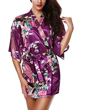 Avidlove Mujer Pijama Bata Kimono Corto Estilo Japones Estampado Floral de Satén Púrpura