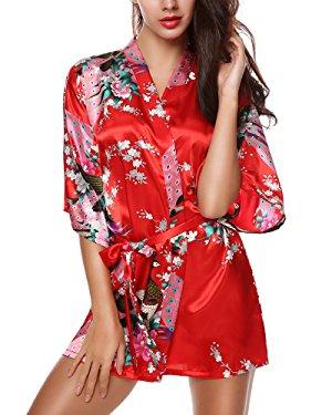 Avidlove Mujer Pijama Bata Kimono Corto Estilo Japones Estampado Floral de Satén Rojo
