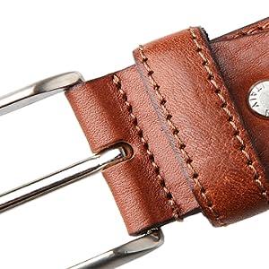 LUCHENGYI Cinturón Hombre Cuero Recortable en Marrón Hecho en Italia ... 6a03b7b6d2f7