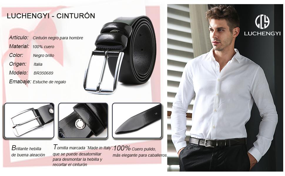 LUCHENGYI Cinturón Piel Negro Hombre 100% Cuero Charol Auténtico ... f0e77aaacfa4