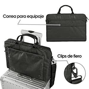 ... clase, o para uso viajero. El maletín está listo para viajar con un correa cosido para adjustar a equipaje / maletas. Se ajusta fácil ...