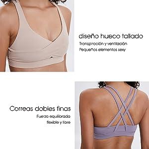 DoGeek Sujetador Deportivo Sport Yoga Comfort Bra Cómodo y Moderno ...