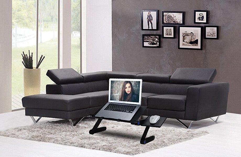 ETPARK Mesa para Ordenador, Base Ajustable y Plegable para Laptop con Soporte para ratón para Notebook PC Laptop (Negro)