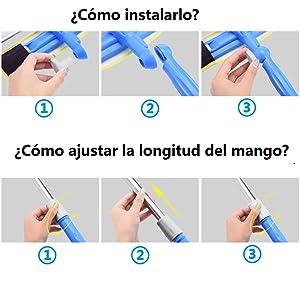 Aqua Clean limpiacristales sin gota Dep/ósito Agua Sucia Mango Telesc/ópico