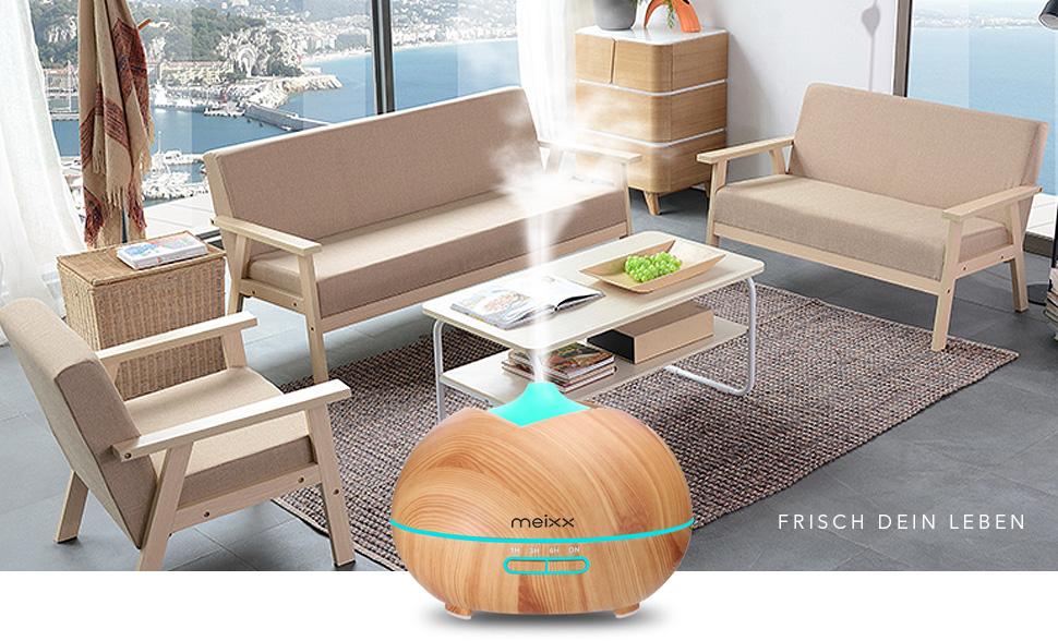 Difusor de Aceites Esenciales,400ml Meixx Difusor de Aceites Esenciales de Vapor Frío, 7-Color LED y 4 Ajustes de ...