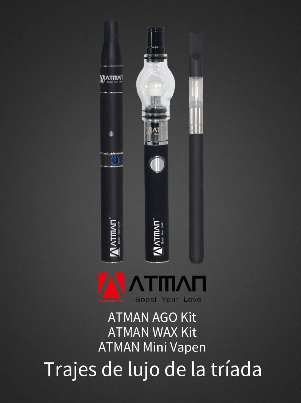 Atman luxury 3-en-1 vaporizador Kit El kit de vapor Atman 3 en 1 de lujo recoge tres bolígrafos básicos para hierba seca y concentrado.