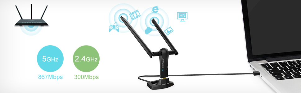 BrosTrend Adaptador WiFi de Largo Alcance USB 1200Mbps, Velocidad de Red inalámbrica de Banda Dual de 5 GHz a 867 Mbps, 2,4 GHz a 300 Mbps, 2 Antenas ...