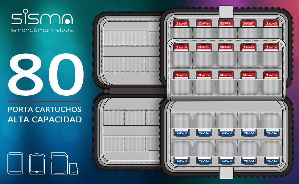 Sisma Funda para 80 cartuchos de juego Nintendo Switch Sony ...