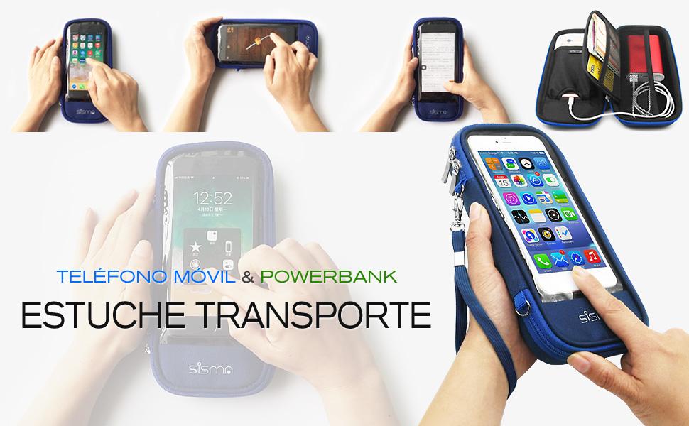 Está diseñada para guardar y transportar el móvil y la batería externa