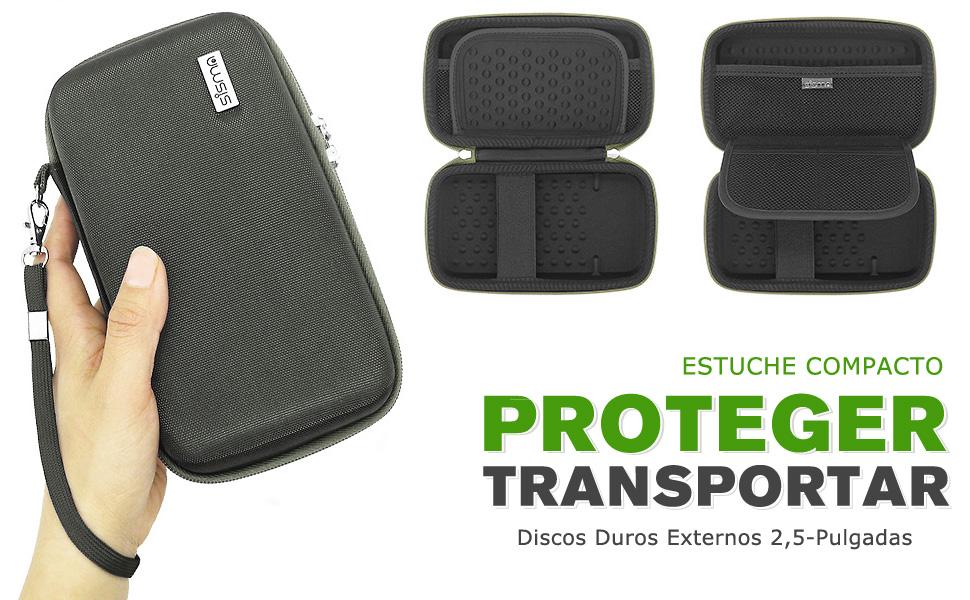 sisma Funda para Disco Duro Externo 500GB 1TB 2TB WD Seagate Toshiba 2,5 Pulgadas, Color Gris SCB171101HC-SG