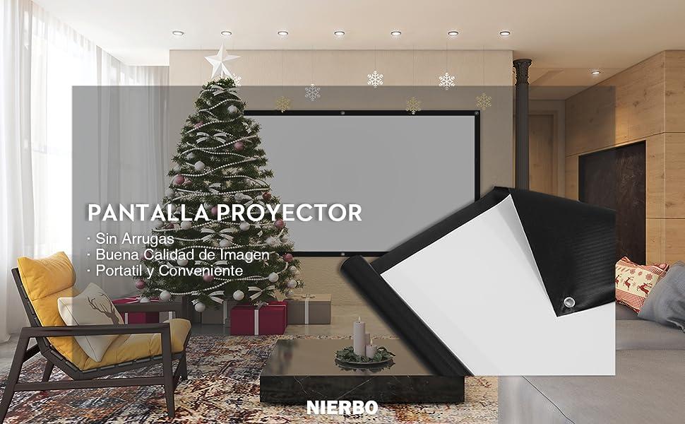 Pantalla Proyector Enrollable, NIERBO Pantalla de Proyección 100 ...