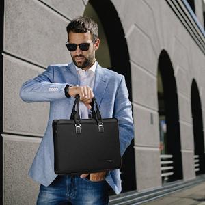 Leathario maletin portatil Ejecutivo para Hombres de Cuero autentica Desigual de Piel sint/ética para Trabajo o Negocio de Color Azul