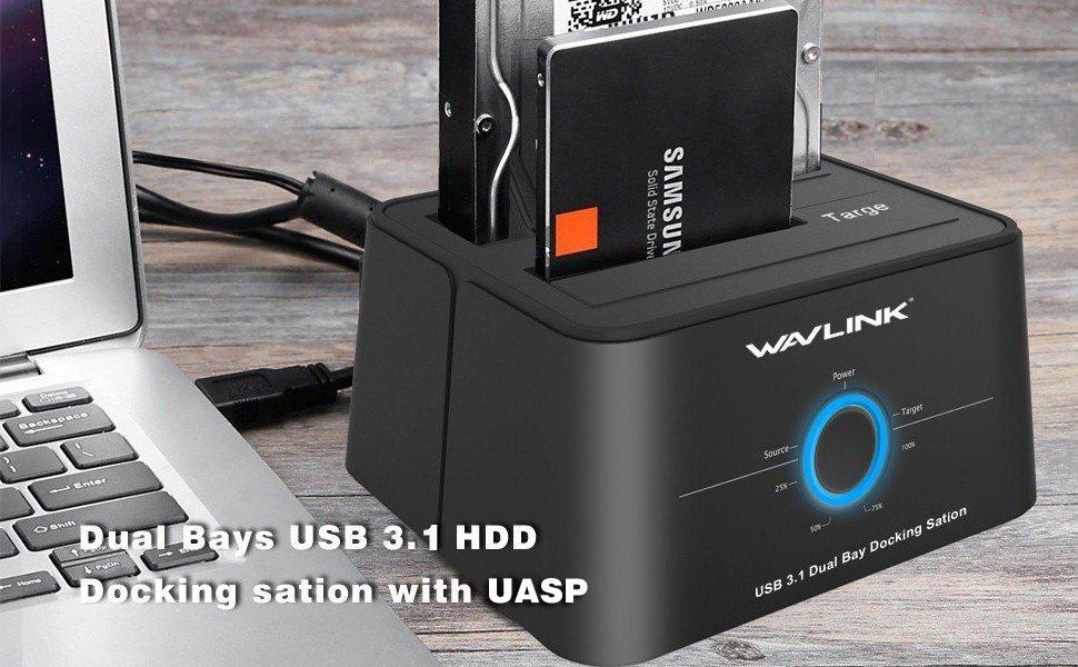 WAVLINK Dual Bay SATA a USB C Docking Station para 2,5 y 3,5 ...