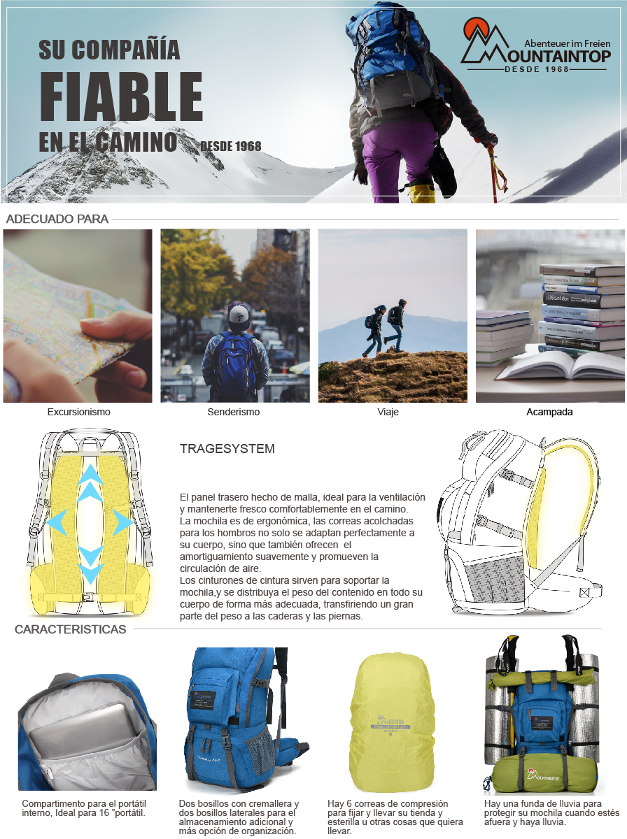 Mountaintop 40L mochila con una funda para lluvia es tu mejor compañía para senderismo, viaje, acampada y el camino de Santiago.