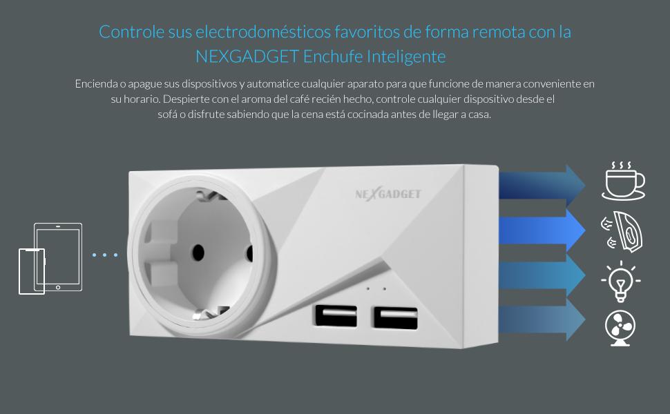 NEXGADGET Enchufe Inteligente wifi Inalámbrico,Smart Socket Remoto Contol por Voz,Dual USB Puerto de Carga 15A/1800W,Compatible con Andriod e ...