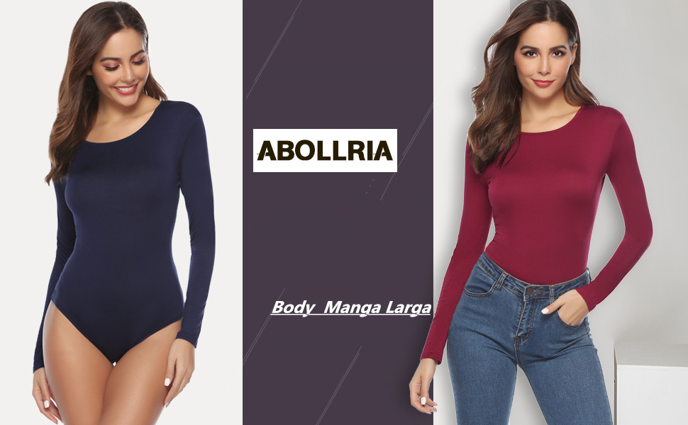 Abollria Body para Mujer Bodysuit con Manga Larga y Cuello Redondo