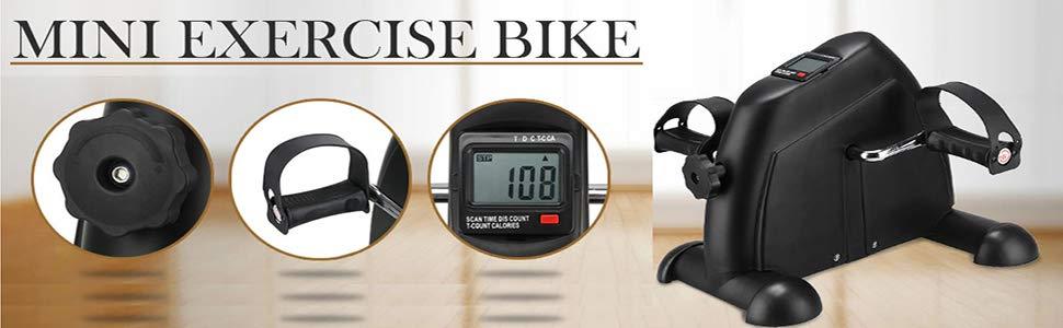 AGM Bicicleta estática, Bicicleta estática con Pedal Plegable Bicicleta de Ejercicios para entraîner Brazo piernas, Negro