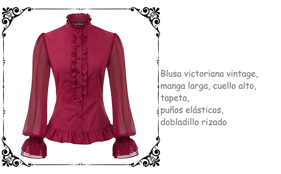 SCARLET DARKNESS Camisa Victoriana Steampunk para Mujer con Mangas Largas: Amazon.es: Ropa y accesorios