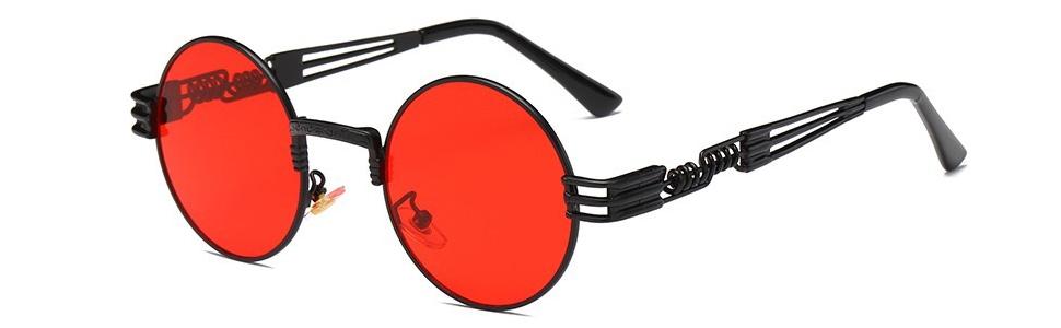992ccde6c0 BOZEVON Estilo retro de Steampunk inspiró las gafas de sol redondas ...