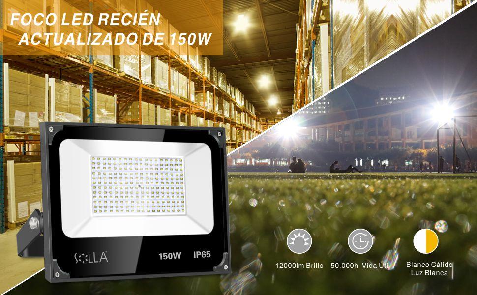 Luces de Seguridad 150W, Reflector LED Súper Brillante de 12000 ...