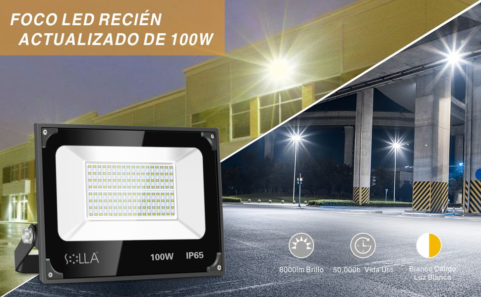 Luces de Seguridad 100W, Reflector LED Súper Brillante de 8000 ...