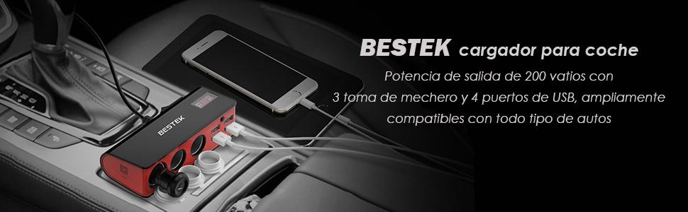 BESTEK Cargador Coche Mechero Coche 3 Encendedores Salidas 4 Puertos USB,Adaptador Mechero Coche para Cargar Sus Dispositivos Negro+Gris