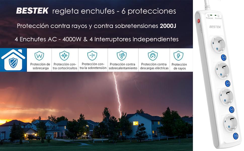 BESTEK Regleta Enchufes 2000J Protección de Sobretensiones Regleta ...