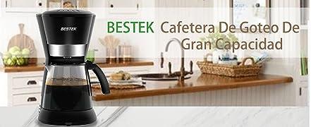 BESTEK cafetera de goteo, que utilizan tecnología avanzada y materiales primas saludables y no contaminantes,para esforzarse por preparar un café sabroso, ...
