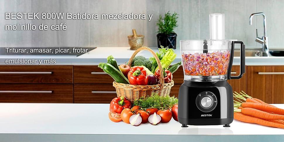 BESTEK Robot de Cocina multifunción 800W, 3-en-1, Procesador de Alimentos y Batidora 1,5L, Copa de Trituración 0,45L para Café y otros ingredientes, Negro: Amazon.es: Hogar