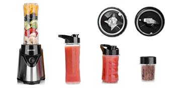 BESTEK Batidora de Vaso Portátil para Smoothies, Batidos y Picadora de Frutas Potencia 300W, Incluye 4 Vasos [0.6L+0.6L+0.4L+200ml] 2 Tapas y 2 ...