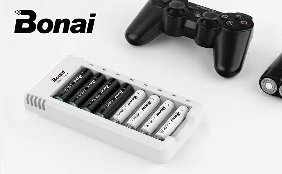 BONAI Pilas AA/AAA Cargador 8 Ranuras, con Indicador LED para baterías Recargables del Ni-MH Ni-CD (Cable USB Incluido)