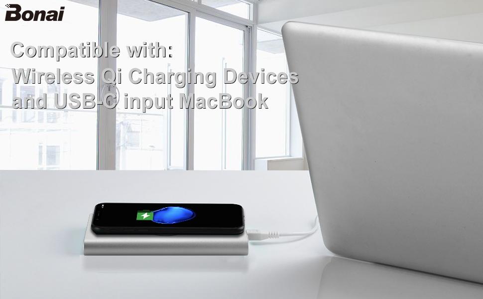 BONAI Bateria Externa Wireless 12000mAh 2 In 1 Cargador Inalámbrico + Cargador Móvil Portáti Power Bank para iPhone XR/XS/XS Max/X/8/8+, Samsung ...