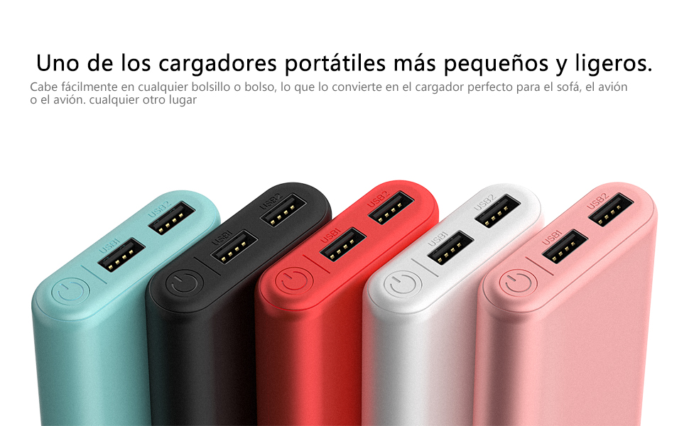 BONAI Power Bank Bolsillo [7800mAh, Universal, Doble Puerto/Output 2.1A, con Micro Cable] Bateria Externa para Movil Cargador Portatil, Salida Doble ...