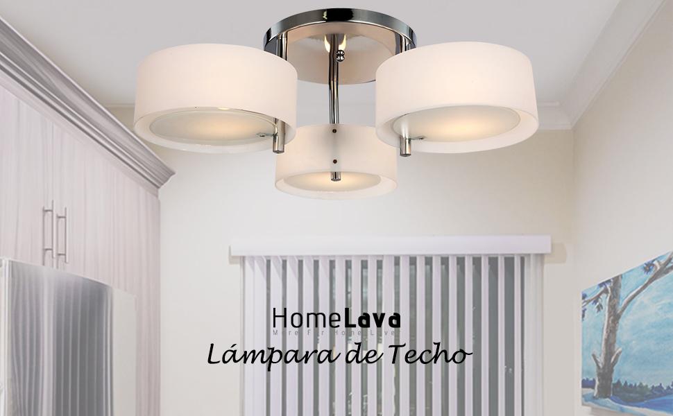 HomeLava Lámpara de techo con 3 Luces, E27, para Salón/Comedor/Habitacion (Sin Bombillas)