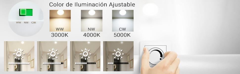 Regulable y Ajustable en Color de Iluminación